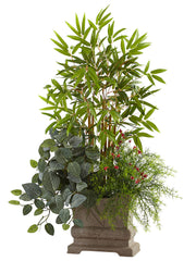 6826 Mini Bamboo Fittonia & Springeri Silk Plant by Nearly Natural | 38""