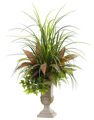 6827 Mixed Grass Dracaena Sage Ivy Fern Silk Plant by Nearly Natural | 36""