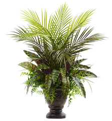 6828 Areca Palm Fern & Peacock Silk Plant with Urn by Nearly Natural | 27""
