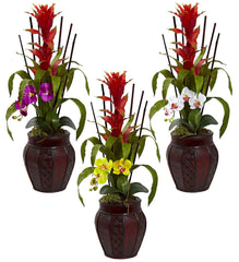 6831 Bromeliad & Orchid Silk Flowers in 3 colors by Nearly Natural | 32""
