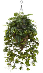 6851 Vining Mixed Greens Silk Plant in Basket by Nearly Natural | 36 inches