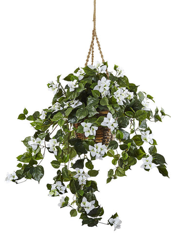 6868-WH Bougainvillea Silk Hanging Plant in Basket by Nearly Natural | 28""