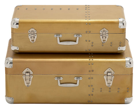 70980 Riveted Style Aluminum Wood Suitcase Storage Box Set of 2 by Benzara