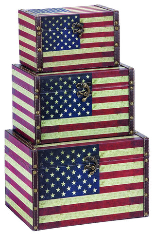 72196 American Flag Canvas Wood Faux Leather Storage Box Set of 3 by Benzara
