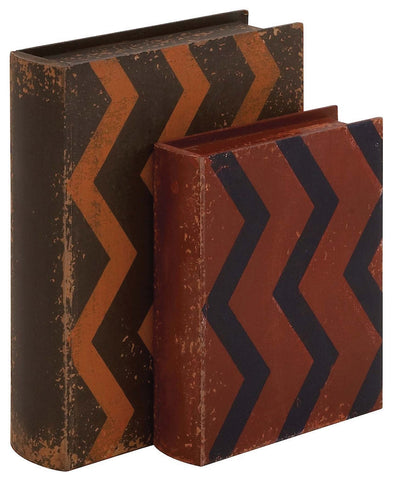 76170 Zig Zag Pattern Faux Leather Wood Book Box Storage Set/2 by Benzara