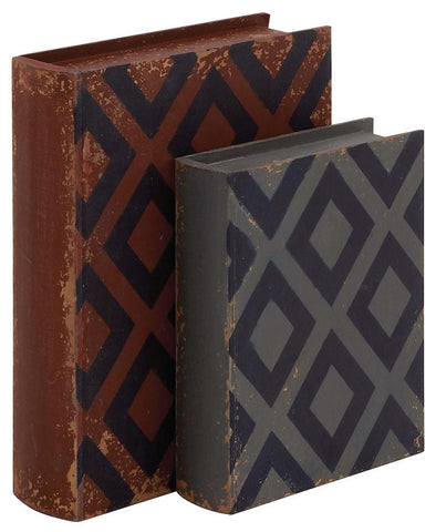 76171 Diamond Pattern Faux Leather Wood Book Box Storage Set/2 by Benzara