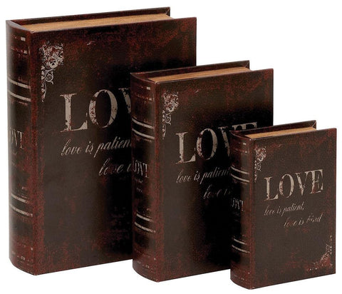 59380 Love is ... Faux Leather Wood Book Box Storage Set/3 by Benzara