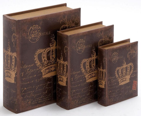 55731 French Crown Postcards Wood Faux Leather Book Box Set/3 by Benzara