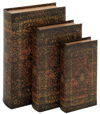 50257 Persian Design Canvas Wood Faux Book Box Storage Set/3 by Benzara