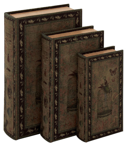 50258 Bird Cage with Butterfly Canvas Wood Faux Book Box Set/3 by Benzara