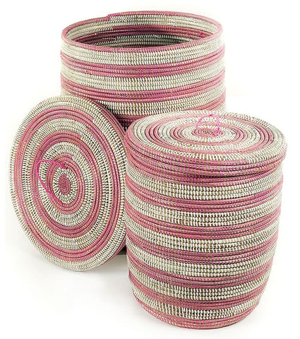 sen45m Pink & White Stripe Set of 2 Sand Dune Storage Baskets with Lids | Senegal Fair Trade by Swahili Imports