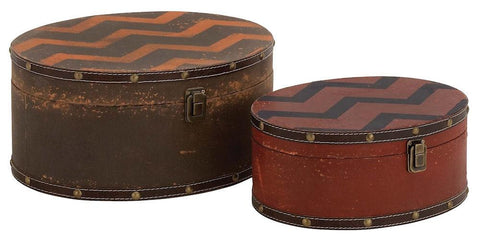 76168 Zig Zag Pattern Faux Leather Wood Oval Storage Box Set of 2 by Benzara