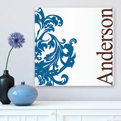 CA0022 Filigree Blue and Brown Print on Canvas | Personalized Wall Art 14x14 by JDS Marketing
