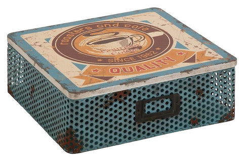 76192 Gourmet Coffee Metal Wood Square Storage Box by Benzara