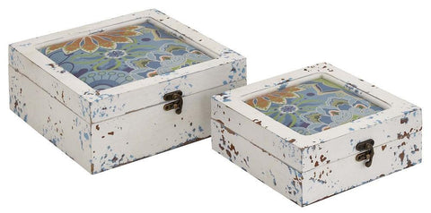 76182 Distressed Floral Design Wood Vinyl Square Box Set/2 by Benzara