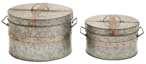 38191 Galvanized Metal with Straps Round Storage Box Set/2 by Benzara