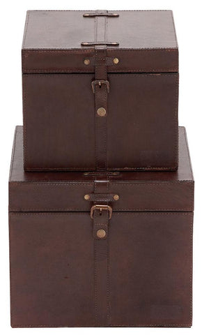 95911 Smooth Brown Leather Wood Square Storage Box Set/2 by Benzara