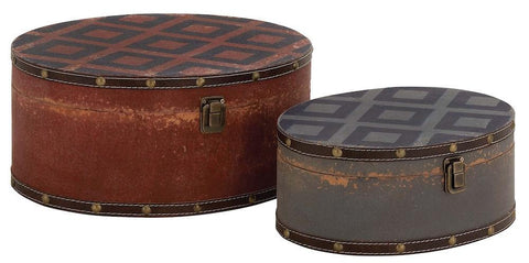 76169 Diamond Pattern Faux Leather Wood Oval Storage Box Set/2 by Benzara