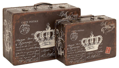91802 French Crown Postcards Faux Leather Wood Suitcase Box Set/2 by Benzara