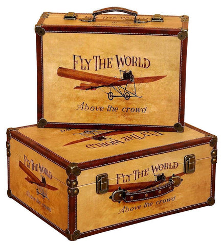 72767 Fly the World Canvas Wood Faux Leather Suitcase Box Set/2 by Benzara