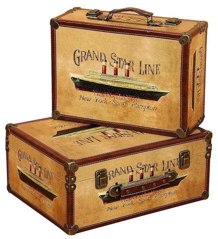 72768 Grand Star Line Canvas Wood Faux Leather Suitcase Box Set/2 by Benzara