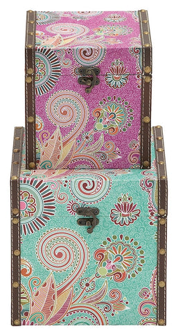 54625 Vintage Paisley Design Vinyl Wood Square Storage Box Set/2 by Benzara