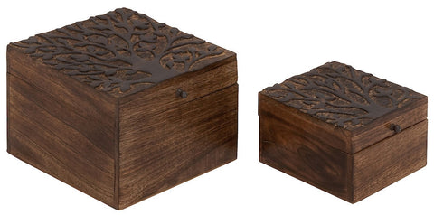 14447 Carved Tree Wood Square Storage Box Set/2 by Benzara
