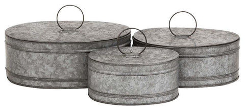 49126 Antique Design Metal Oval Storage Box Set/3 by Benzara
