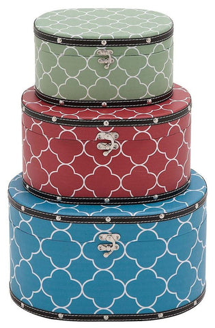 41057 Quatrefoil Pattern Vinyl Wood Oval Hat Box Storage Set/3 by Benzara