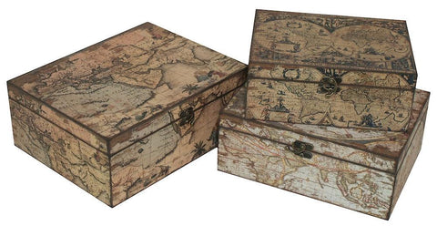 HRT-856476 Old World Maps Wood Rectangular Storage Box Set/3 by Benzara