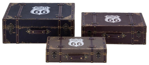 93963 Route 66 Faux Leather Wood Suitcase Storage Box Set/3 by Benzara