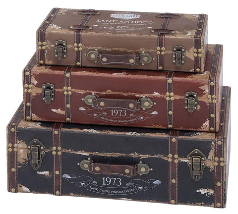 93774 Sant'Antioco 1973 Faux Leather Wood Suitcase Box Set/3 by Benzara