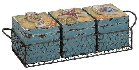 76184 Sea Life Vanity Wood Storage Box Set/4 in Metal Basket by Benzara