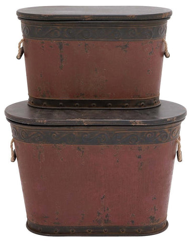 20271 Brown & Gray Metal Wood Oval Storage Trunk Set/2 by Benzara