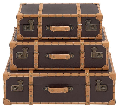 86882 Gray and Brown Faux Leather Wood Suitcase Trunk Set/3 by Benzara