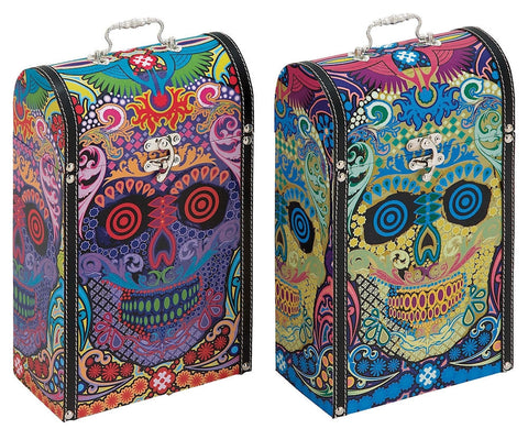 41043 Skull Pop Art Set/2 Wood Two Bottle Wine Case Gift Boxes by Benzara