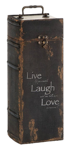 51736 Live Laugh Love Wood One Bottle Wine Case Gift Box by Benzara
