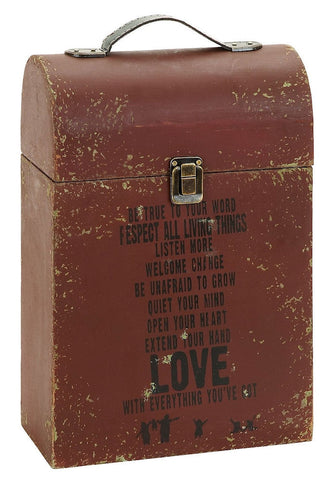 56100 Motivational Love Wood Two Bottle Wine Case Gift Box by Benzara