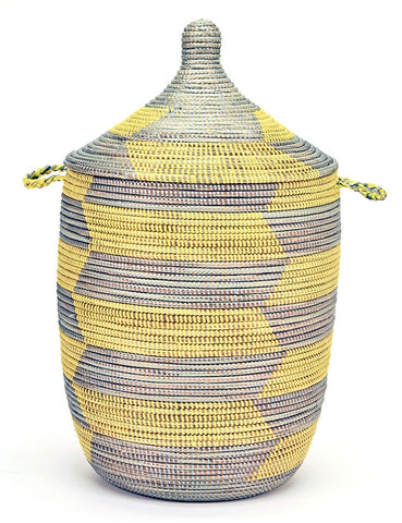 sen10v Yellow & Silver Chevron Medium Traditional Hamper Storage Basket | Senegal Fair Trade by Swahili Imports