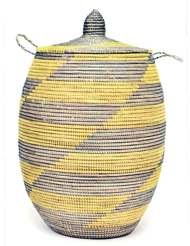 sen11v Yellow & Silver Chevron Large Traditional Hamper Storage Basket | Senegal Fair Trade by Swahili Imports