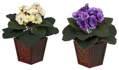 6685-S2 African Violet Set/2 Silk Plants by Nearly Natural | 10 inches