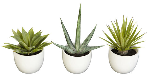 4769 Agave Set of 3 Silk Plants by Nearly Natural | up to 8.5 inches
