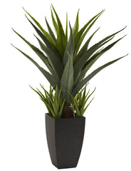 4856 Agave Silk Plant with Tall Black Planter by Nearly Natural | 30 inches