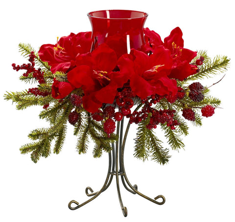 4927 Amaryllis Artificial Holiday Candelabrum by Nearly Natural | 17 inches