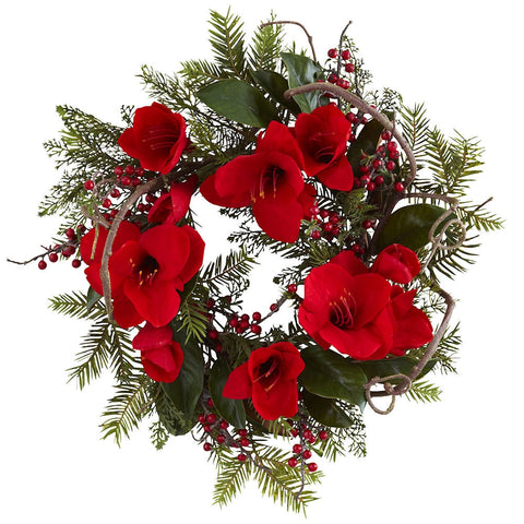 4811 Amaryllis Artificial Silk Holiday Wreath by Nearly Natural | 24 inches