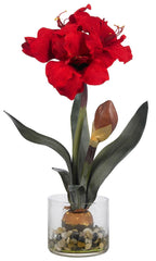 4827 Amaryllis Silk Holiday Flower in Vase by Nearly Natural | 20 inches