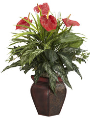 6678 Anthurium & Mixed Greens Silk Plant by Nearly Natural | 26 inches