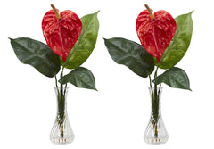 1286 Anthurium Set/2 Silk Flowers in Vases by Nearly Natural | 14.5 inches