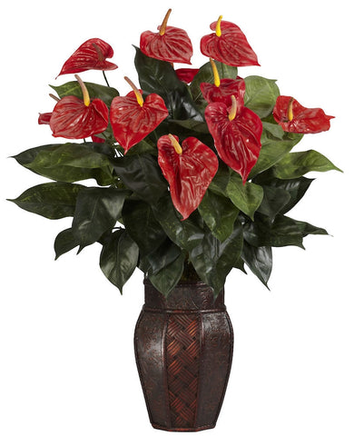 6666 Anthurium Silk Plant with Wood Vase by Nearly Natural | 30 inches