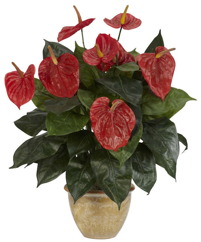 6665 Anthurium Silk Plant with Planter by Nearly Natural | 22.5 inches